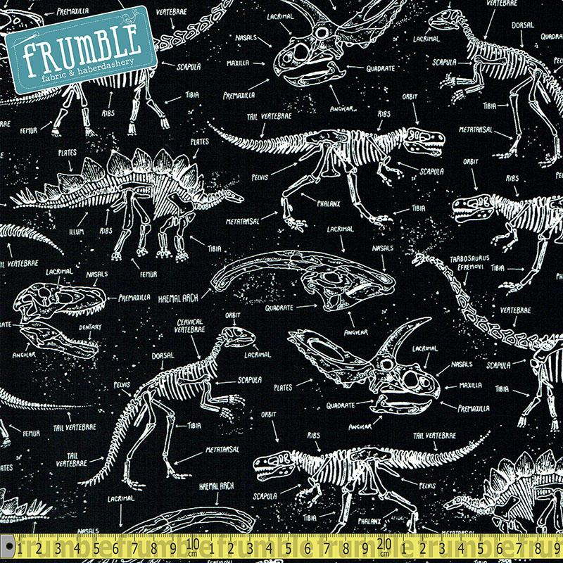 Glow-in-the-Dark Dinosaur Skeletons Fabric by Timeless Treasures