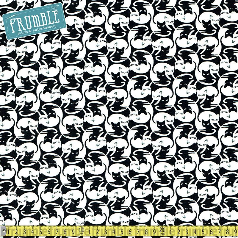 Intertwined Cats Black Fabric by Timeless Treasures
