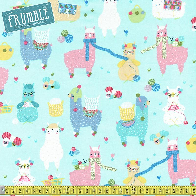 Knitting Alpacas Aqua - Frumble Fabrics
