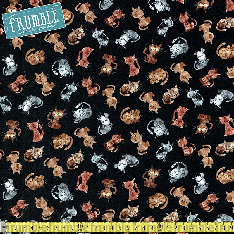 Mini Cats Black Fabric by Timeless Treasures