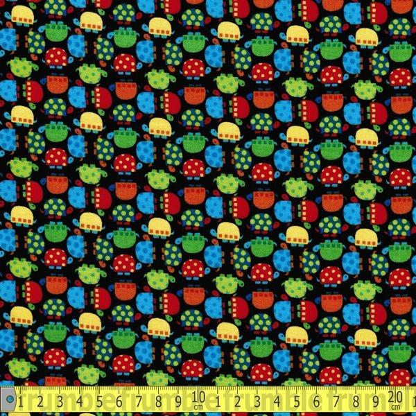 Mini Turtles Black Fabric by Timeless Treasures