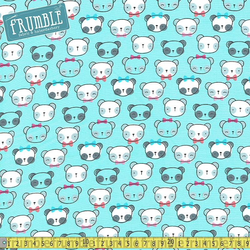 Panda Faces Aqua Fabric by Timeless Treasures