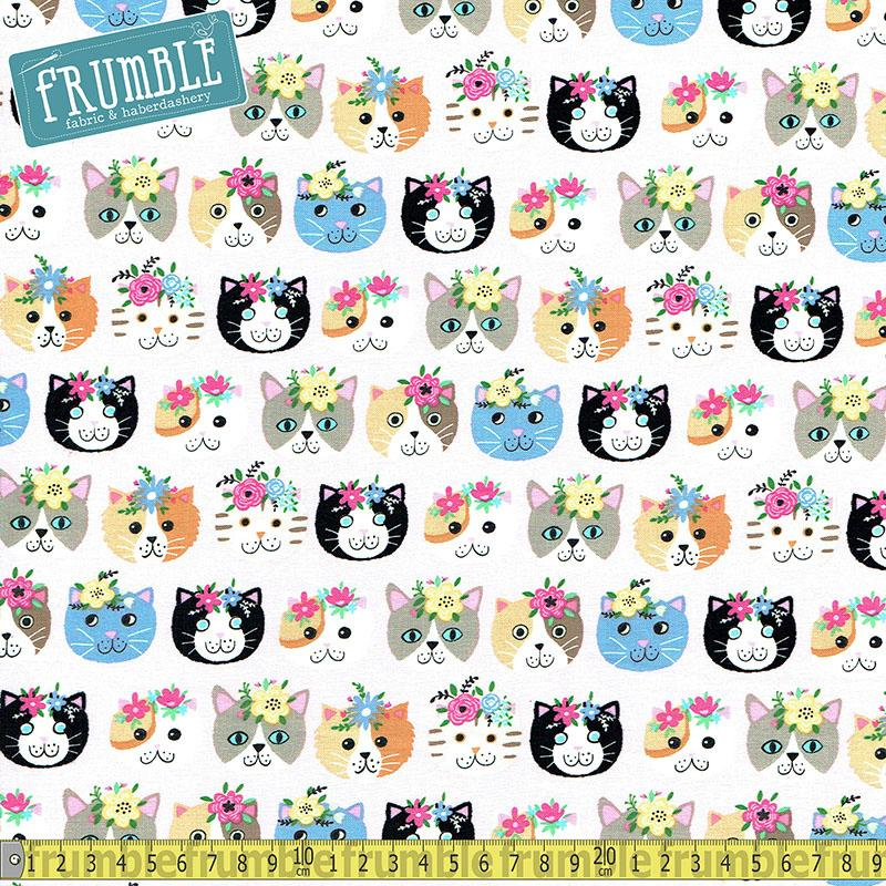 Petal Purrfect Cats Pink Fabric by Timeless Treasures