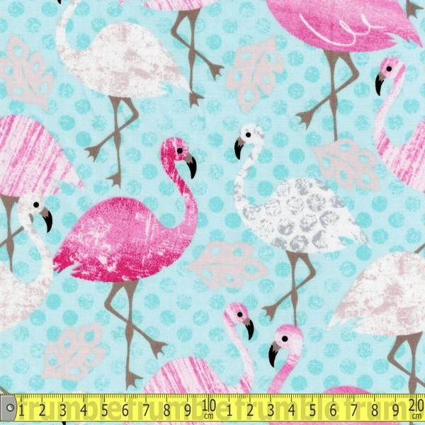 Pink Flamingo Aqua Fabric by Timeless Treasures