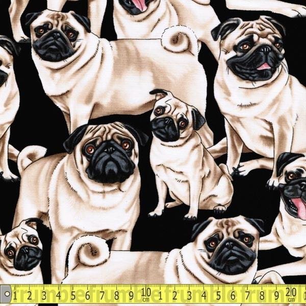 Pugs Black Fabric by Timeless Treasures