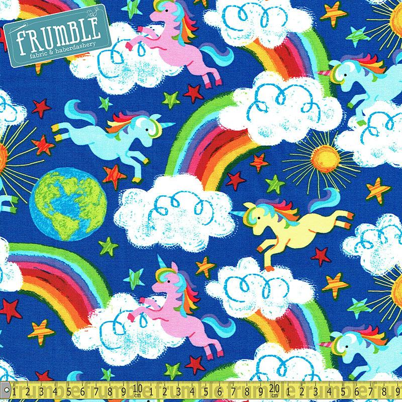 Rainbows and Unicorns Royal - Frumble Fabrics