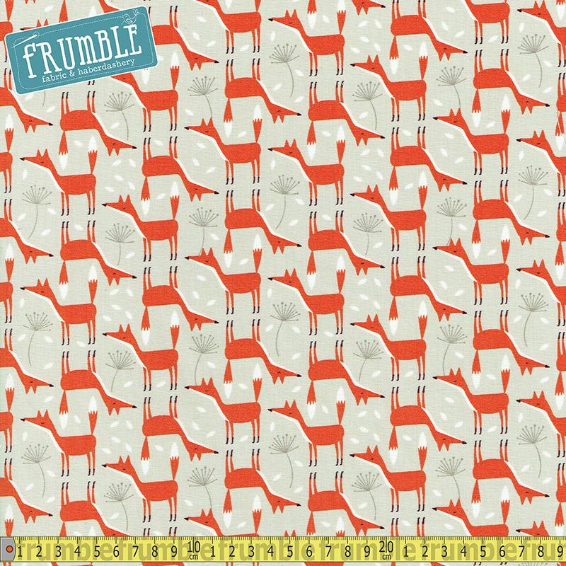 Scandi Foxes Stone Fabric by Timeless Treasures