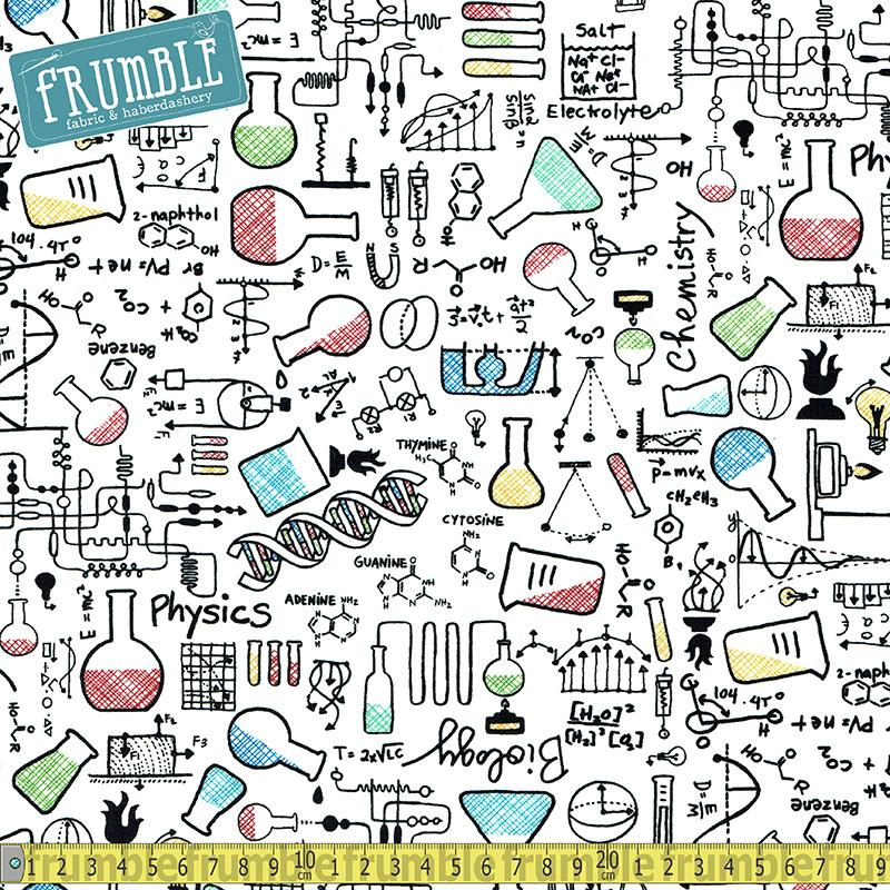 Science Chemistry White Fabric by Timeless Treasures