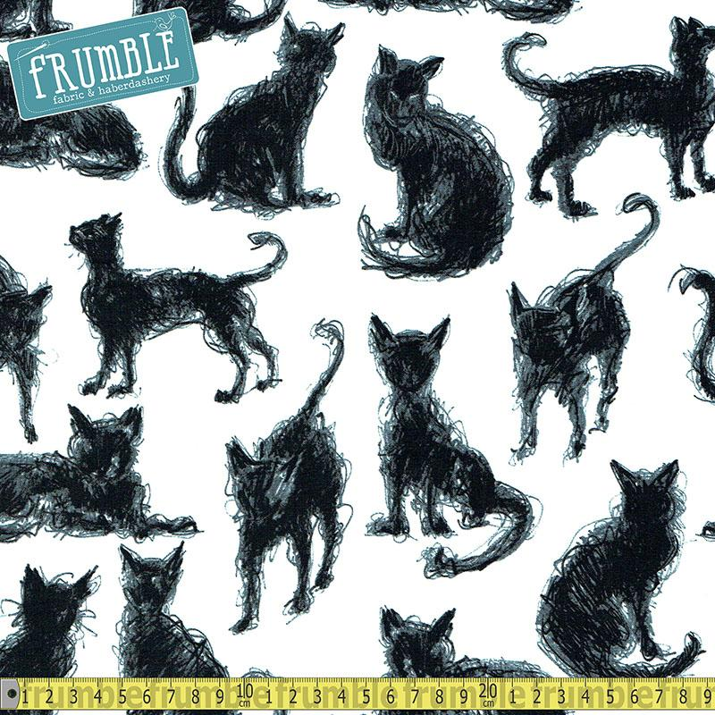 Scribble Cats Milk Fabric by Timeless Treasures