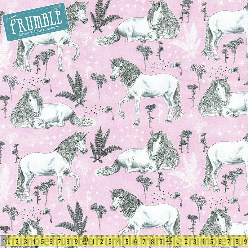 Sketched Unicorns Pink Fabric by Timeless Treasures