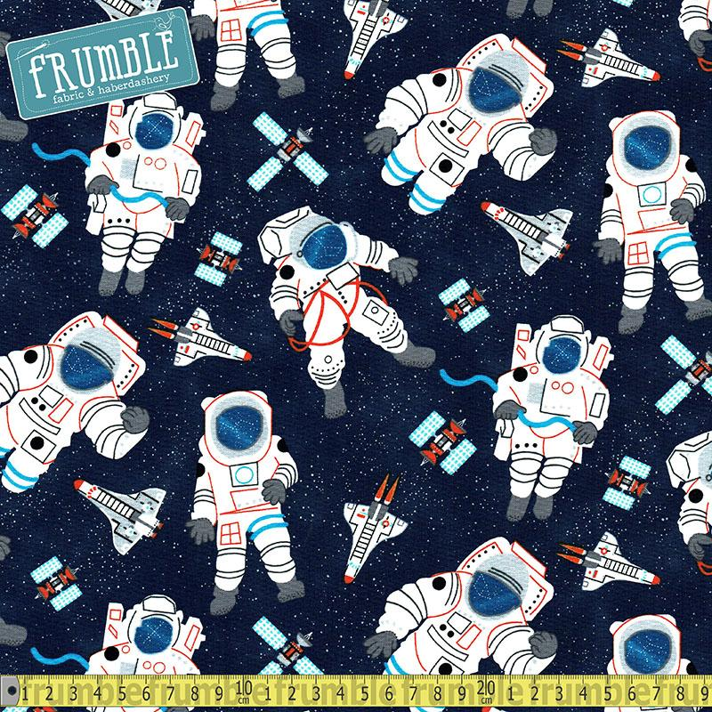 Space Astronauts and Shuttles Navy - Frumble Fabrics