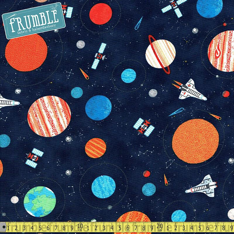 Space Planets and Shuttles Navy Fabric by Timeless Treasures