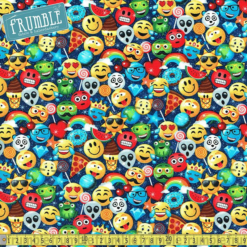 Sweet and Smilies Navy Fabric by Timeless Treasures