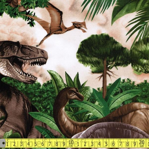 T-Rex Dinos Green Fabric by Timeless Treasures