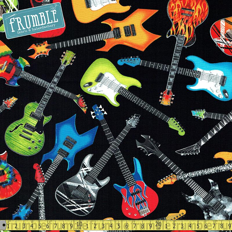 Tossed Electric Guitars Black - Frumble Fabrics