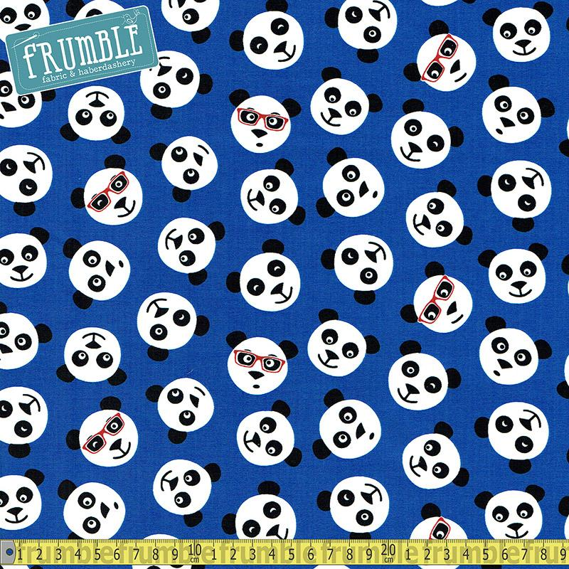 Tossed Panda Faces Blue Fabric by Timeless Treasures