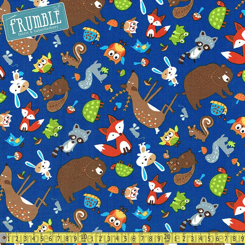 Tossed Woodland Animals Royal Fabric by Timeless Treasures