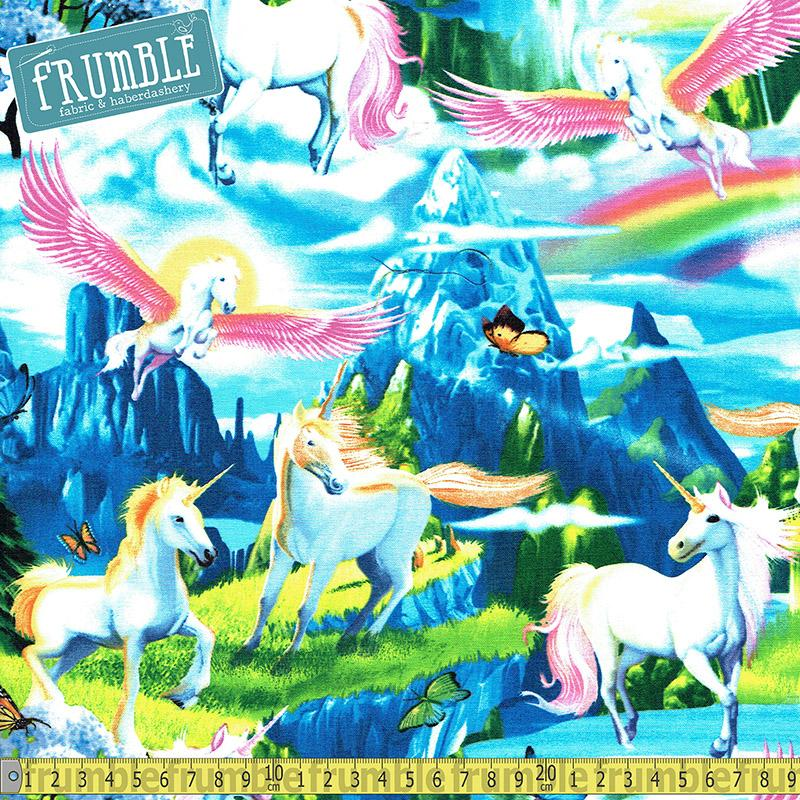 Unicorns In Fantasy Land Multi Fabric by Timeless Treasures