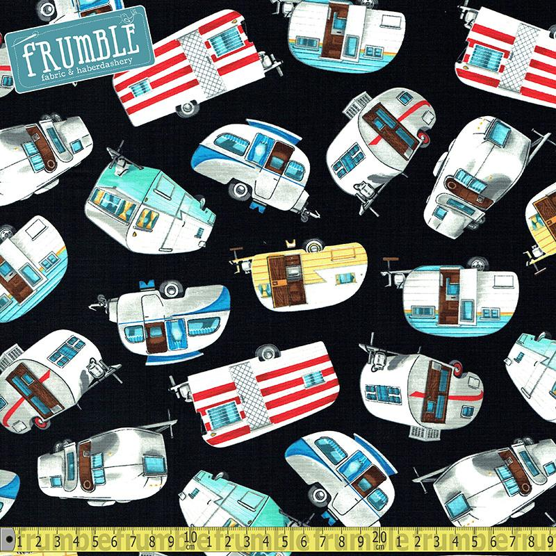Vintage Campers Black Fabric by Timeless Treasures