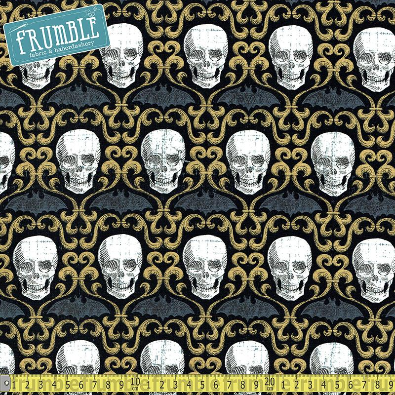 Wicked Skull Scroll Black Fabric by Timeless Treasures