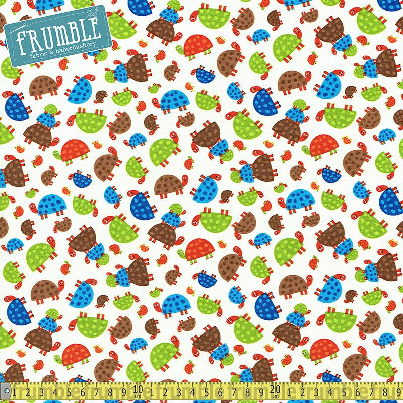 Woodland Animals Turtles Cream Fabric by Timeless Treasures