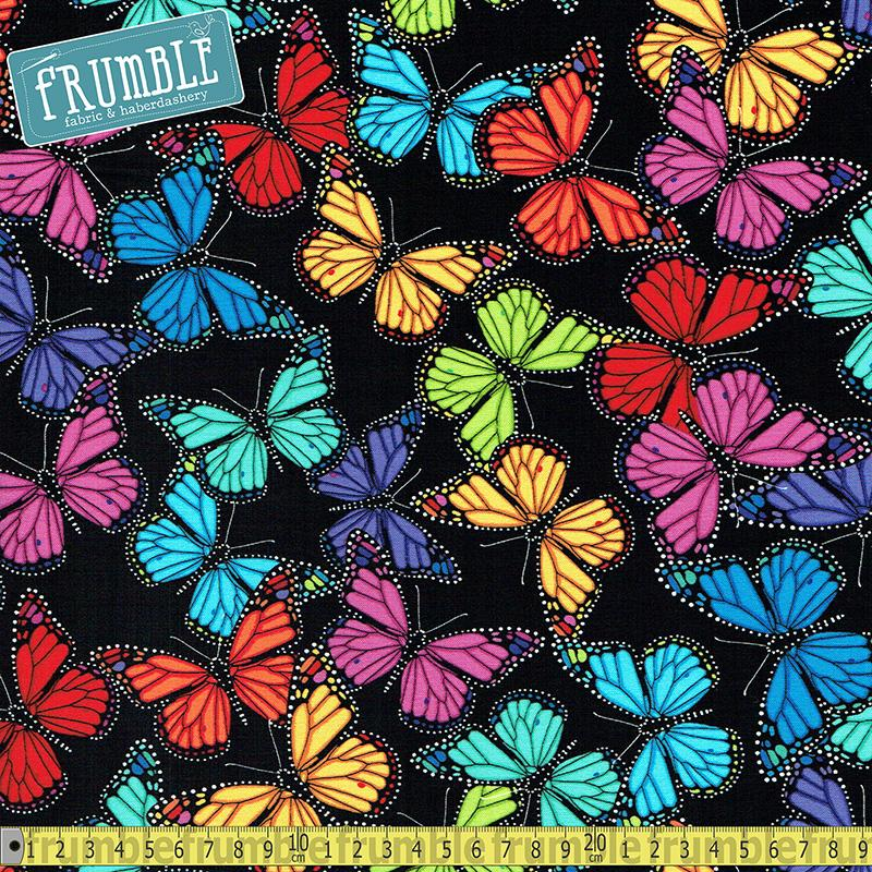 Allover Butterflies Black Fabric by Timeless Treasures