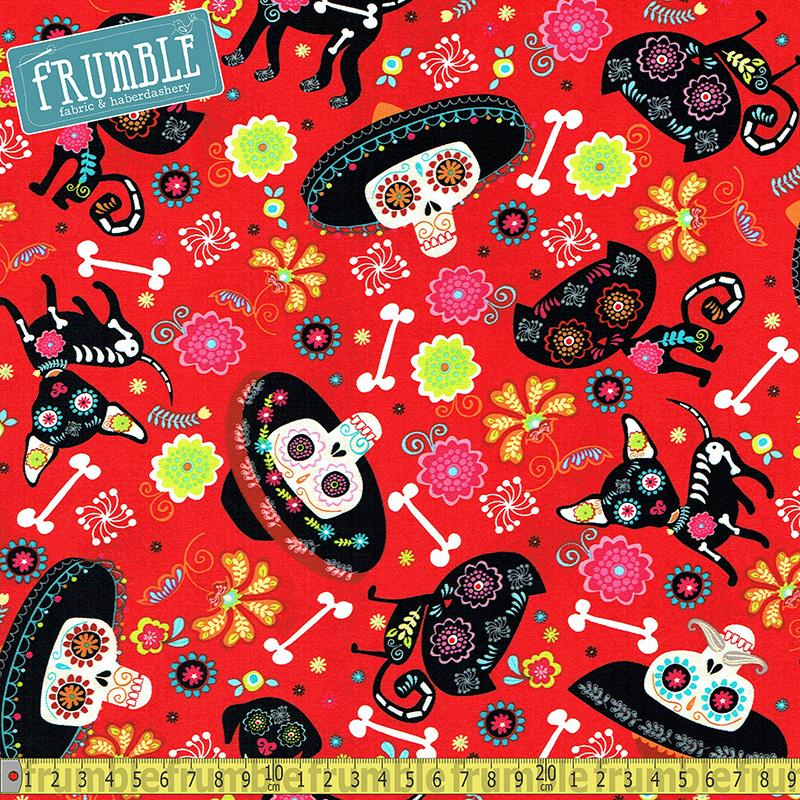 Day Of The Dead Pets Fire Fabric by Timeless Treasures