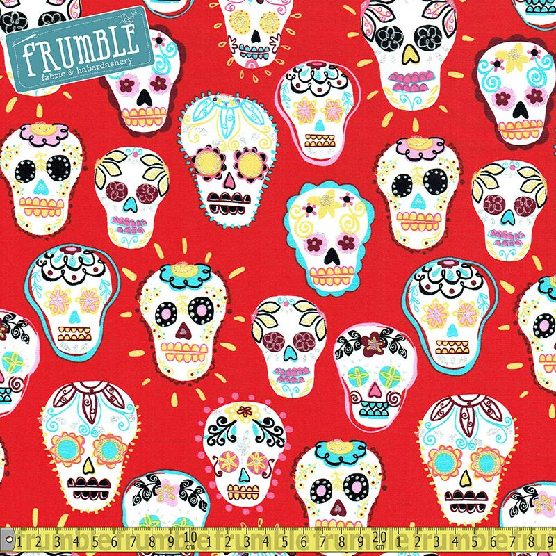 Metallic Sugar Skulls Red Fabric by Timeless Treasures