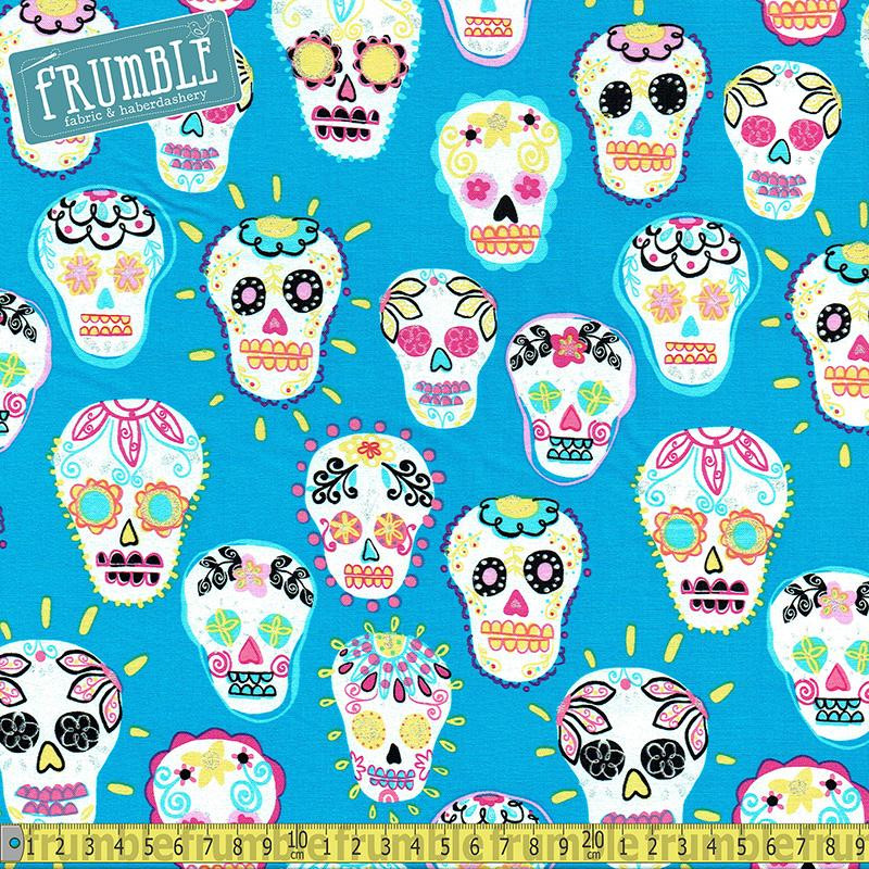 Metallic Sugar Skulls Turquoise Fabric by Timeless Treasures