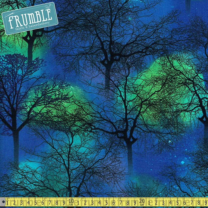 Northern Lights Trees Cobalt Fabric by Timeless Treasures