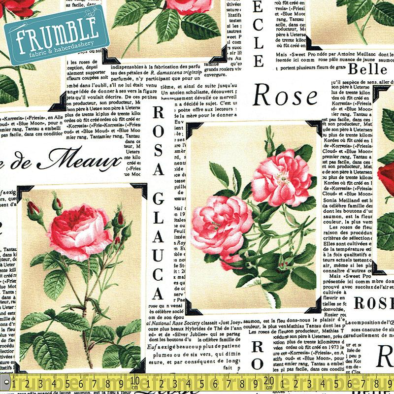 Rose Paper in Latte - Frumble Fabrics