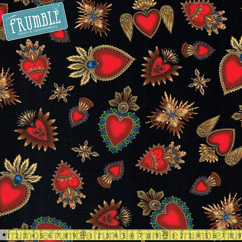 Sacred Heart Black - Frumble Fabrics