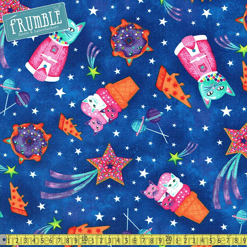 Sugar Space Cats in Cobalt - Frumble Fabrics