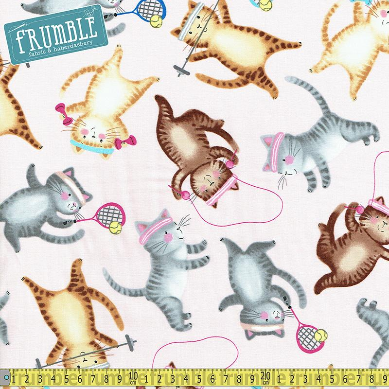 Workout Cats Pink Fabric by Timeless Treasures
