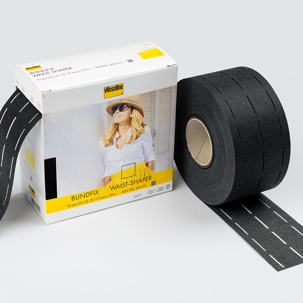 Bundfix Waistband/Bag Strap Tape - 80mm Black - Frumble Fabrics