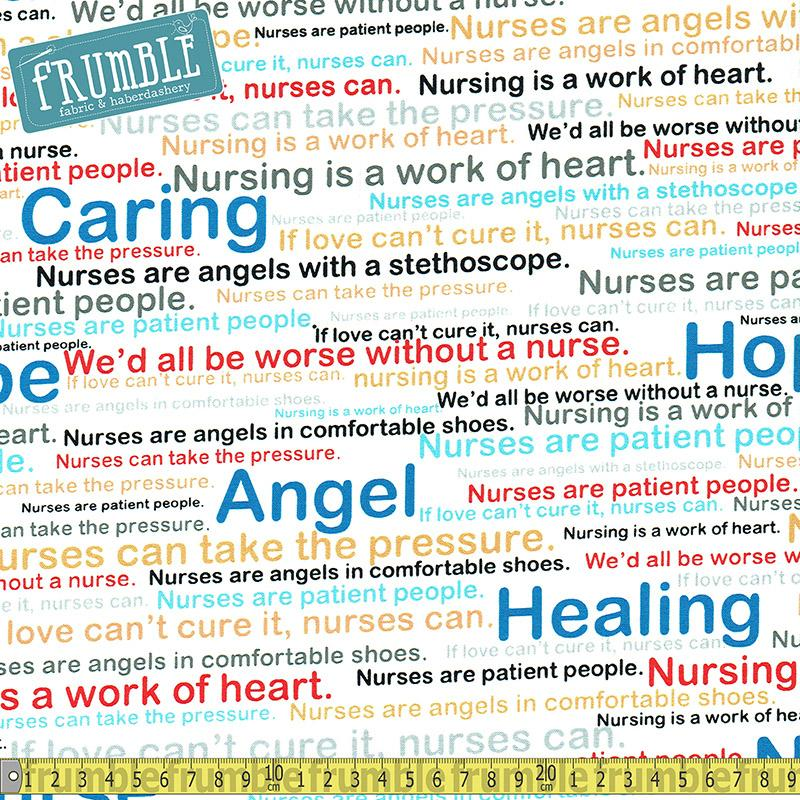 Calling All Nurses Caring Text White - Frumble Fabrics