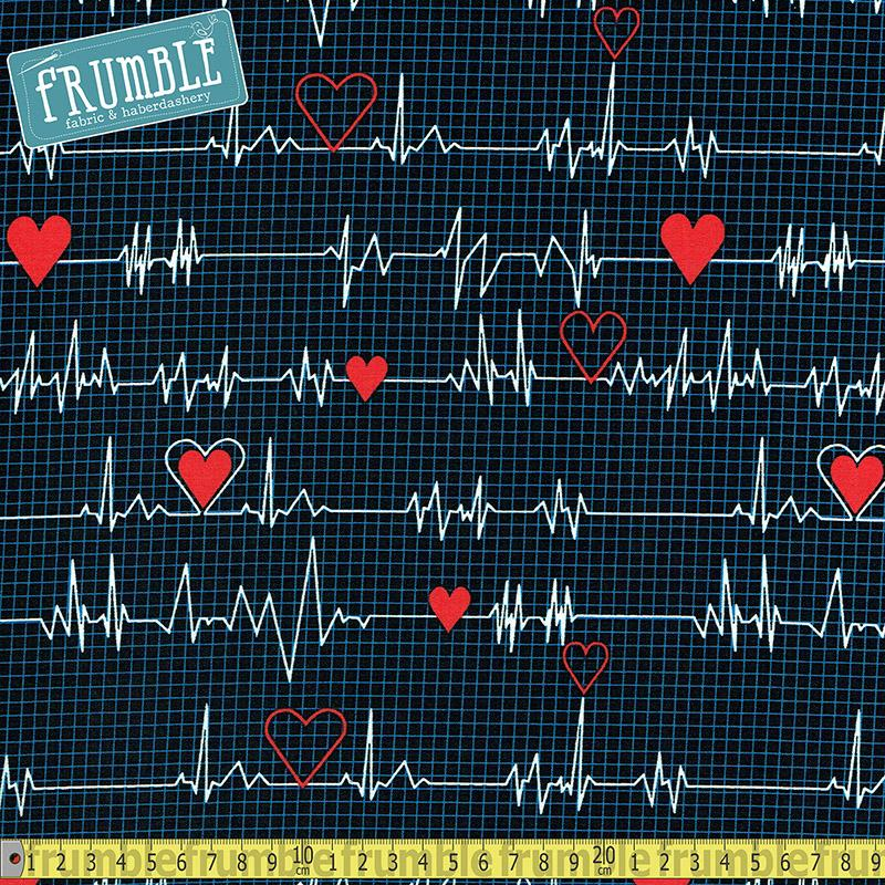 Calling All Nurses Heart Beat Navy - Frumble Fabrics