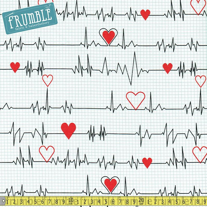 Calling All Nurses Heart Beat White - Frumble Fabrics