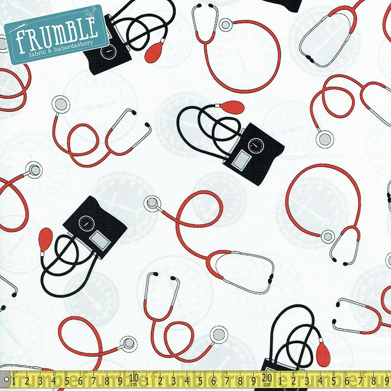 Calling All Nurses Stethoscopes White - Frumble Fabrics