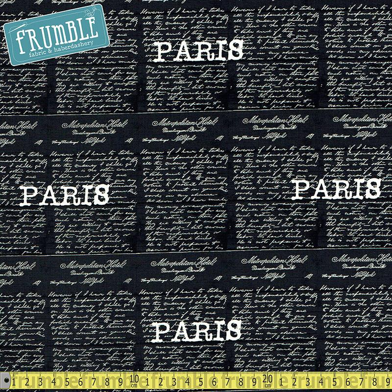Destination Paris Script Black - Frumble Fabrics