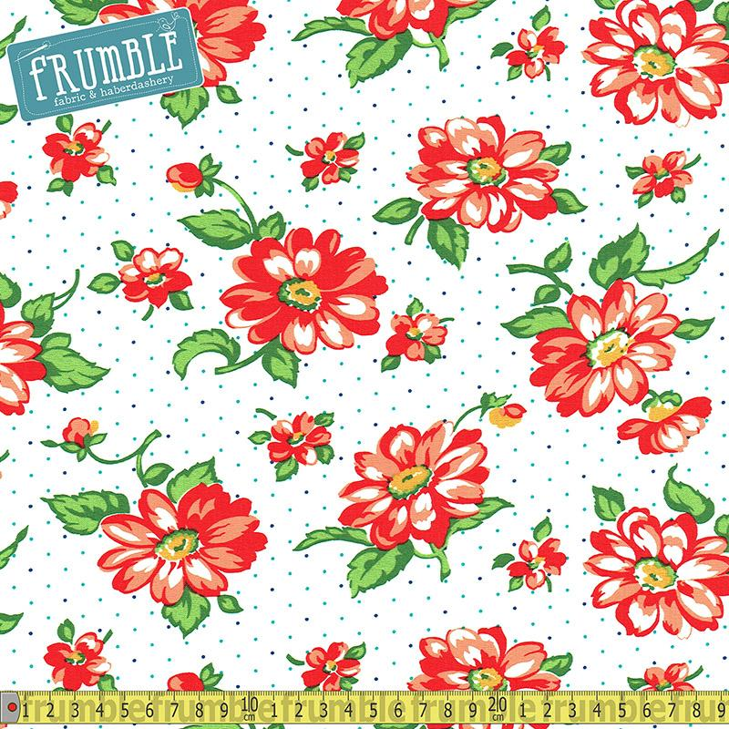 Dixie Strawberry Floral White - Frumble Fabrics