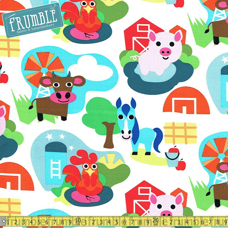 Farm Cartoon Animals White - Frumble Fabrics