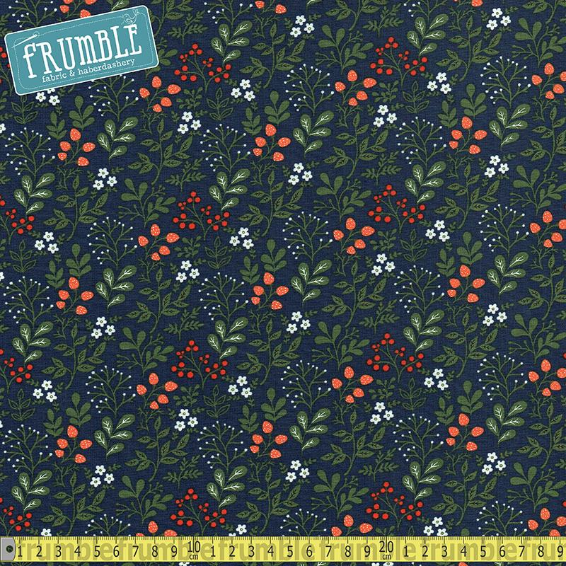 Gardening Flowers & Fruit Navy - Frumble Fabrics