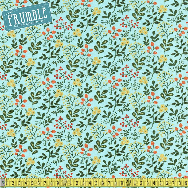 Gardening Flowers & Fruit Sky Blue - Frumble Fabrics