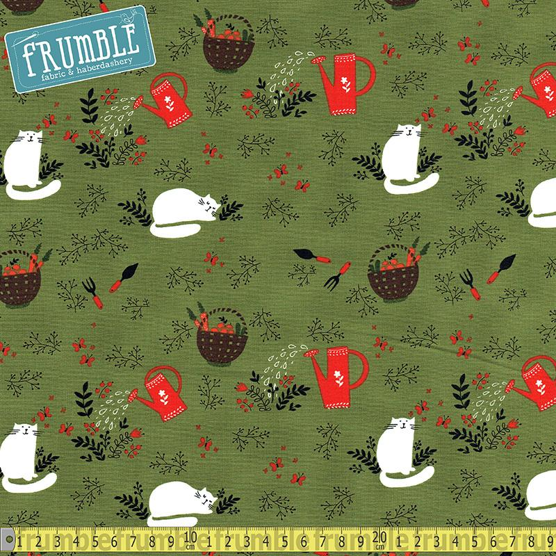 Gardening Lazy Cat Nap Green - Frumble Fabrics