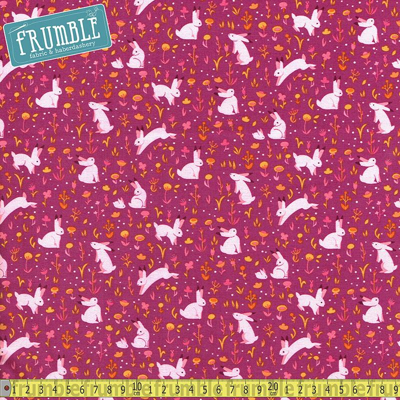 Luna Sol Bunny Field Magenta Fabric by Windham