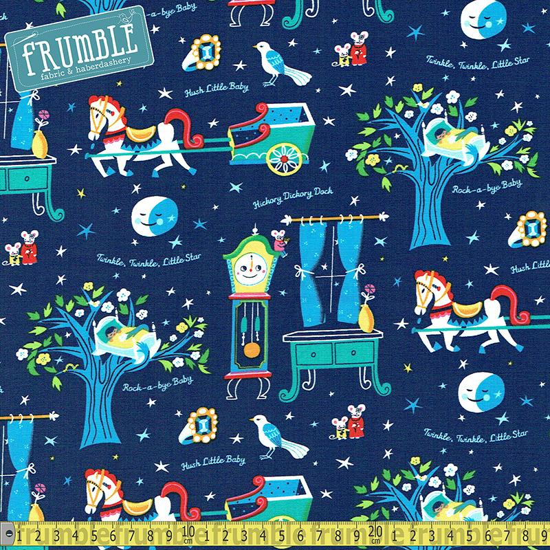 Nursery Rhymes Bedtime Navy - Frumble Fabrics