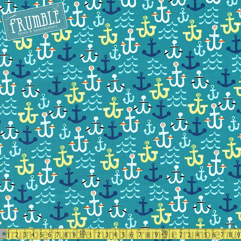 Seaside Anchors Teal - Frumble Fabrics