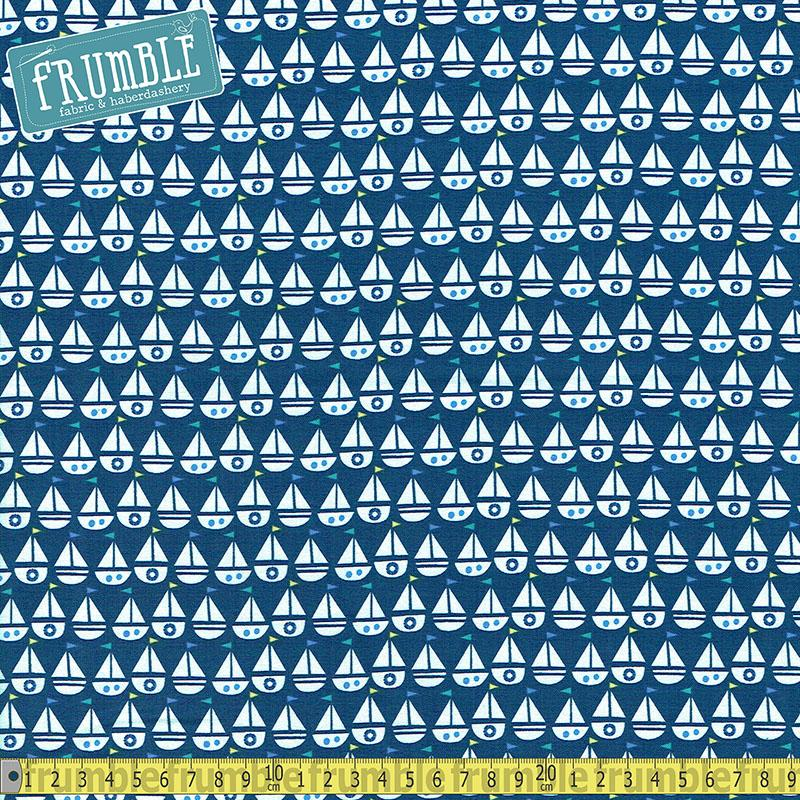 Seaside Boats Blue Fabric by Windham