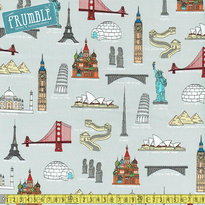 We Share One World 7 Wonders Grey Fabric by Windham